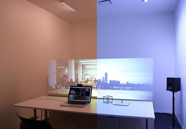 Ilustração de como funcionaria uma 'mesa inteligente' do projeto Mediated Atmosphere (Foto:  Nan Zhao/MIT Media Lab)