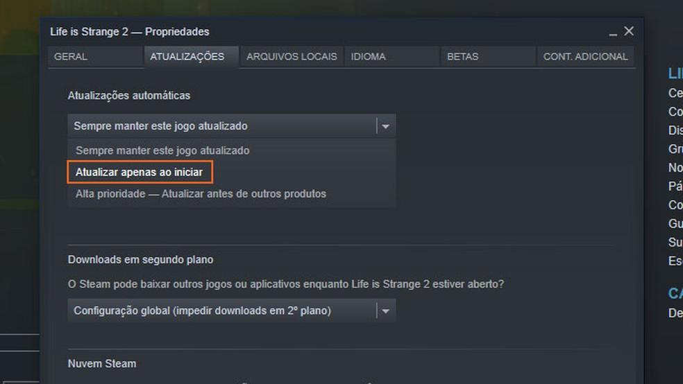"""Selecione """"Atualizar apenas ao iniciar"""" para impedir que o Steam atualize os jogos sozinho — Foto: Reprodução/Tais Carvalho"""