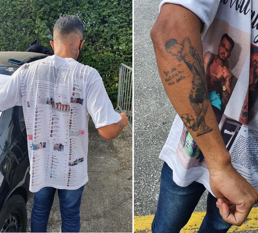 """Barbeiro de 24 anos tem uma tatuagem com a frase """"Um dia realizarei meu sonho"""" — Foto: Jorge Natan"""
