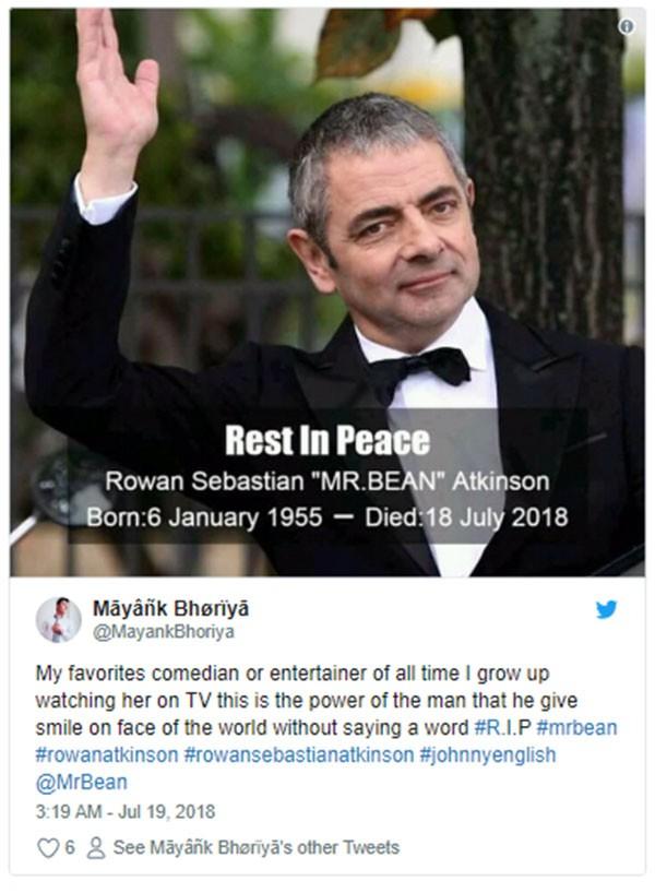 Fake news sobre Rowan Atkinson (Foto: Twitter)
