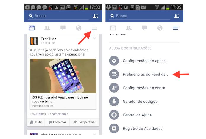 Acessando as preferencias do feed de notícias no Facebook para Android (Foto: Reprodução/Marvin Costa)