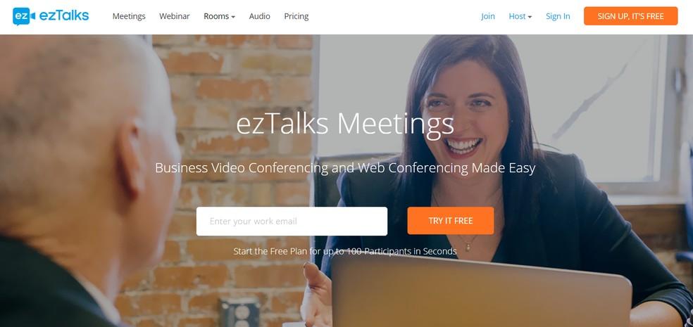 Voltada para ambientes corporativos, ezTalks oferece plano gratuito que permite reuniões com até 100 pessoas — Foto: Reprodução/ezTalks