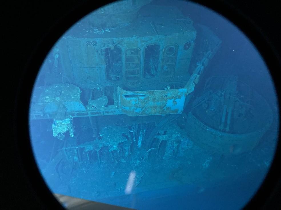 Imagem de 31 de março de 2021 mostra os restos do navio americano USS Johnston — Foto: Caladan Oceanic/Via AFP