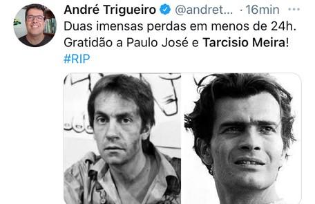 André Trigueiro homenageou Paulo José e Tarcísio Meira Reprodução
