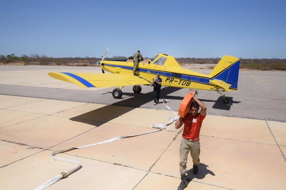 Avião é alugado para combater incêndios florestais no Piauí — Foto: Divulgação/Corpo de Bombeiros