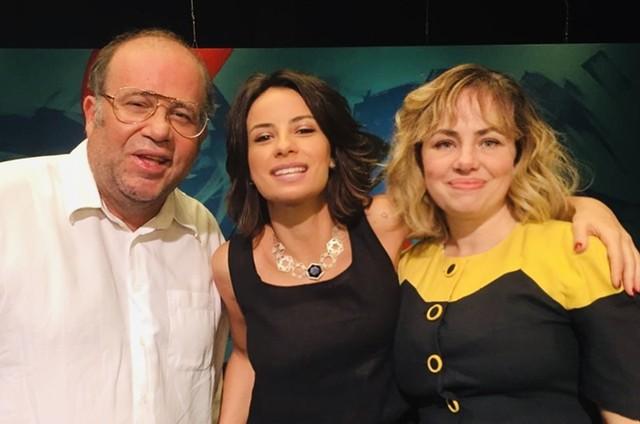 Andreia Horta entre Otávio Müller e Karine Teles (Foto: Arquivo pessoal)
