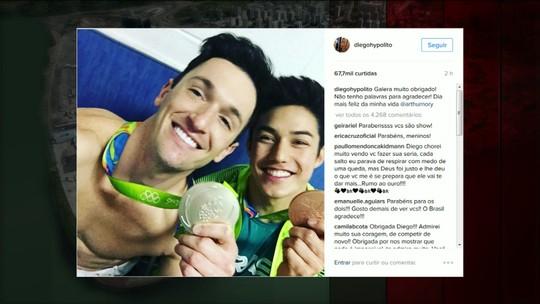 Medalhistas deste domingo comemoraram suas vitórias nas redes sociais com fotos e frases