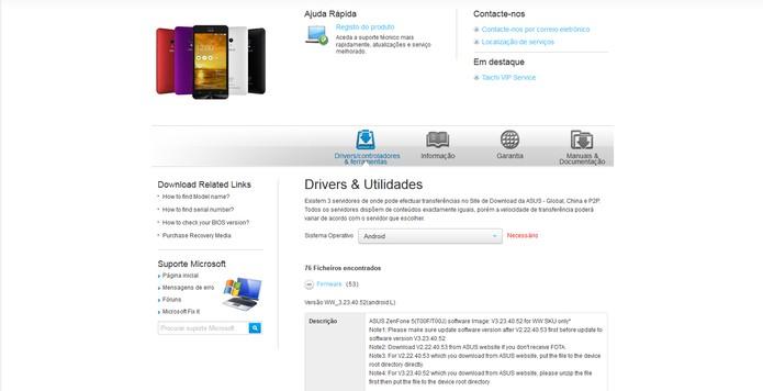Atualização para Zenfone 5 e 6 na página da Asus (Foto: Reprodução/Barbara Mannara) (Foto: Atualização para Zenfone 5 e 6 na página da Asus (Foto: Reprodução/Barbara Mannara))