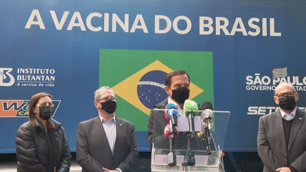 Doria concede coletiva de imprensa na sede do Butantan  — Foto: Reprodução/TV Globo