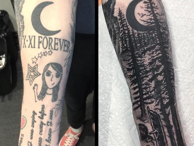 Antes e depois da tatuagem de Pete Davidson (Foto: Reprodução/Instagram)