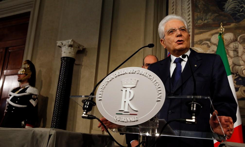 O presidente da Itália, Sergio Mattarella — Foto: Reuters