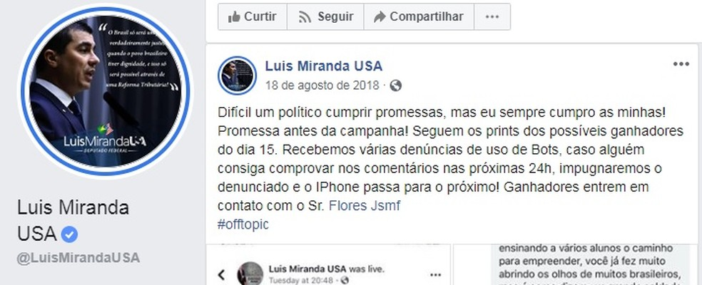 Youtuber eleito deputado federal do DF é acusado de corrupção e abuso de poder por sortear celulares na eleição — Foto: Facebook/Reprodução