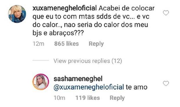 Xuxa deixa comentário no Instagram de Sasha (Foto: Reprodução/Instagram)