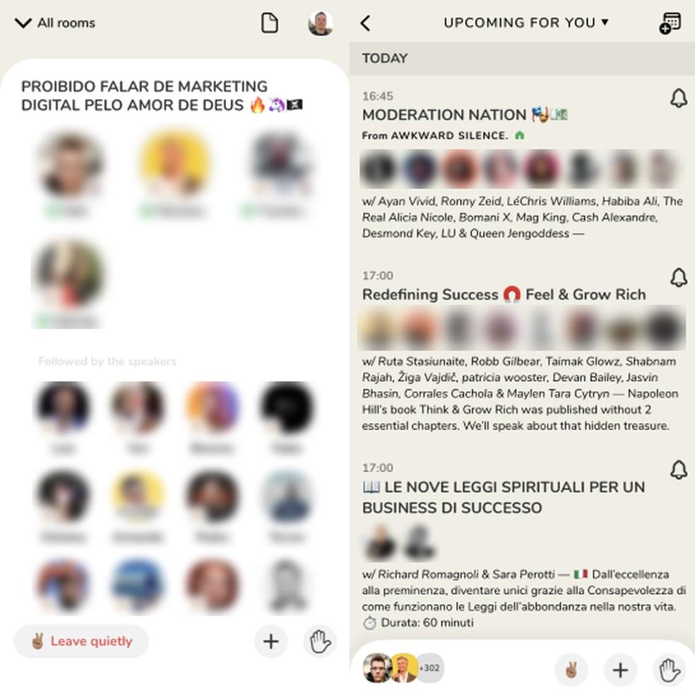 O Clubhouse app exibe salas de áudios e os participantes — Foto: Reprodução/Thássius Veloso