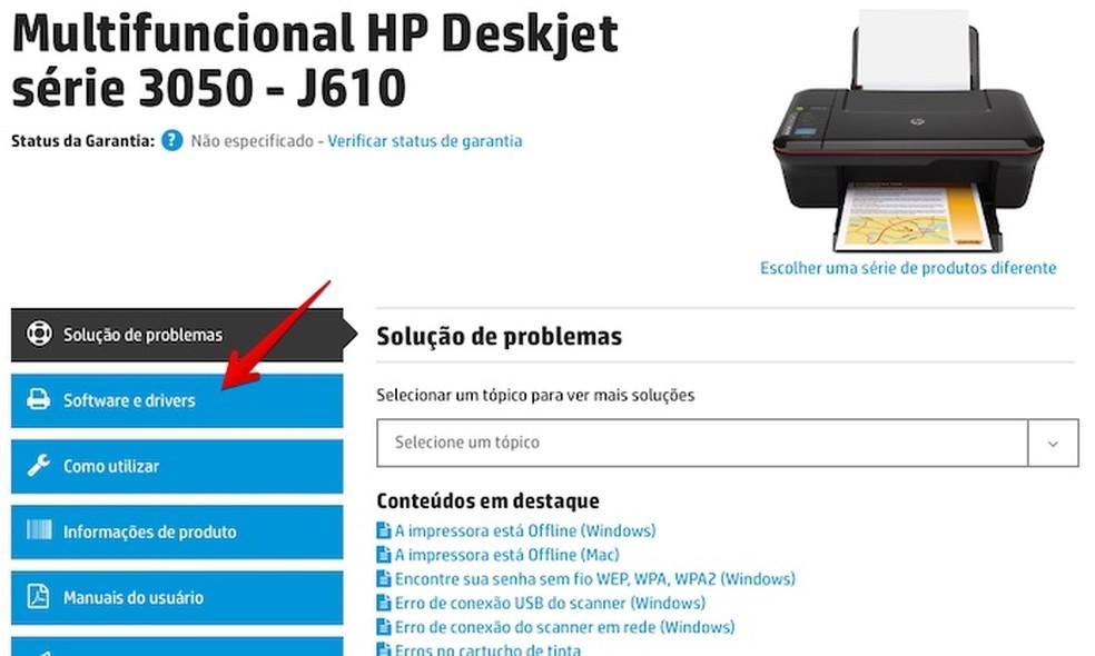 Como baixar o driver da impressora HP Deskjet 3050 J610