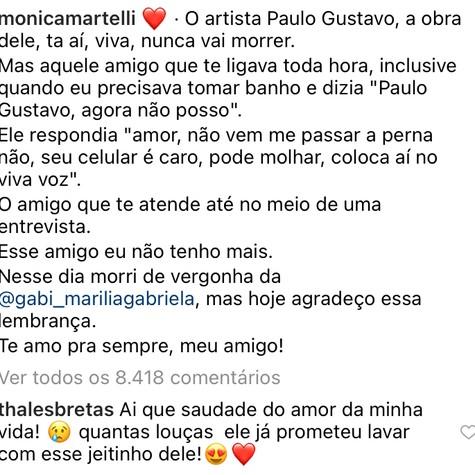 Postagem de Mônica Martelli em homenagem a Paulo Gustavo (Foto: Reprodução)