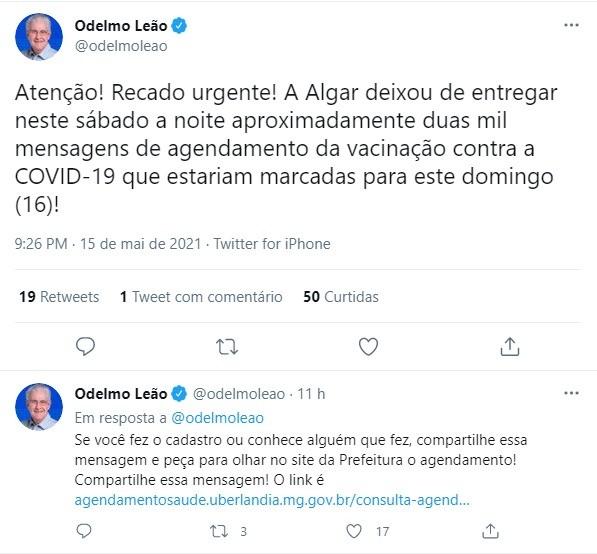 Covid-19: prefeito de Uberlândia diz que mensagens de agendamento da vacinação tiveram falha na entrega; operadora resolveu problema e SMS foram enviados