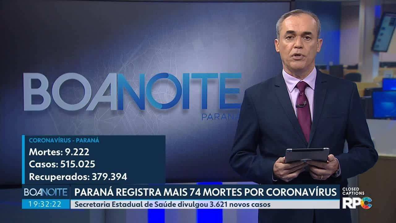 Paraná registra mais 74 mortes por coronavírus