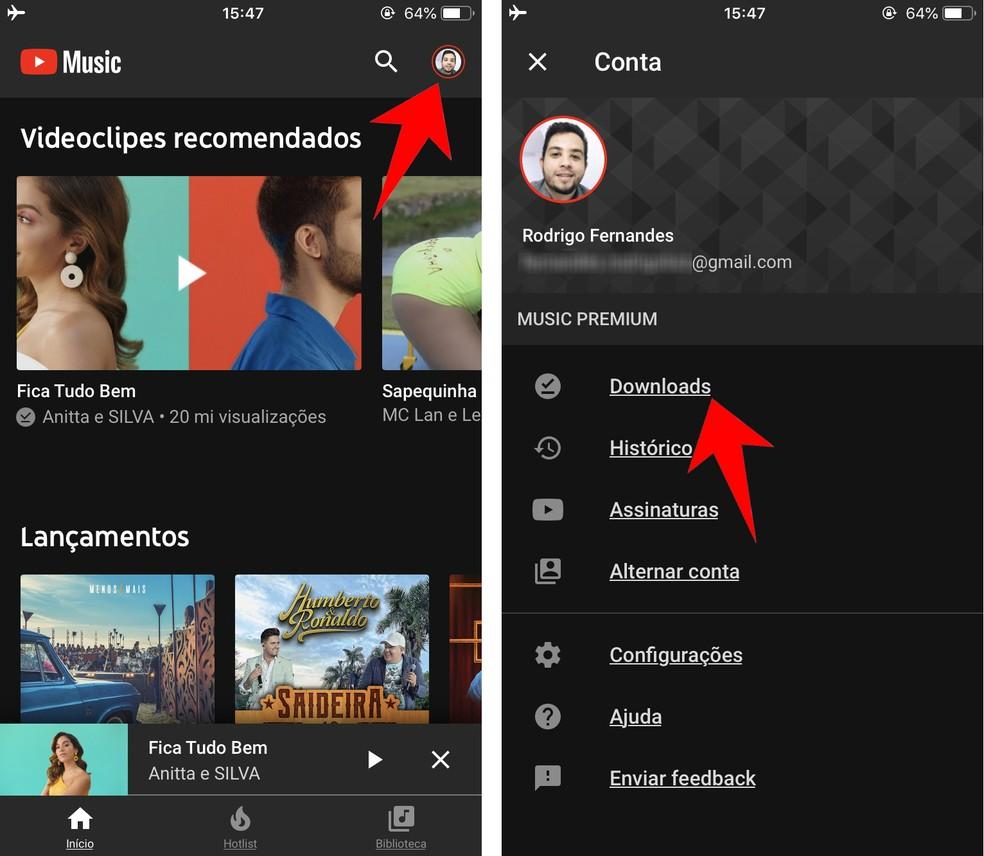 Acessando os vídeos baixados no Youtube Music — Foto: Reprodução/Rodrigo Fernandes