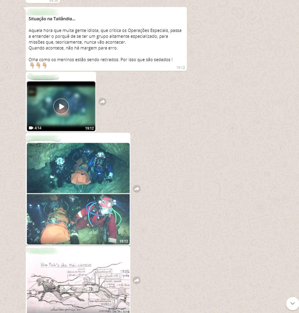 Vídeo compartilhado por aplicativo de mensagem não é atual (Foto: Reprodução/WhatsApp)