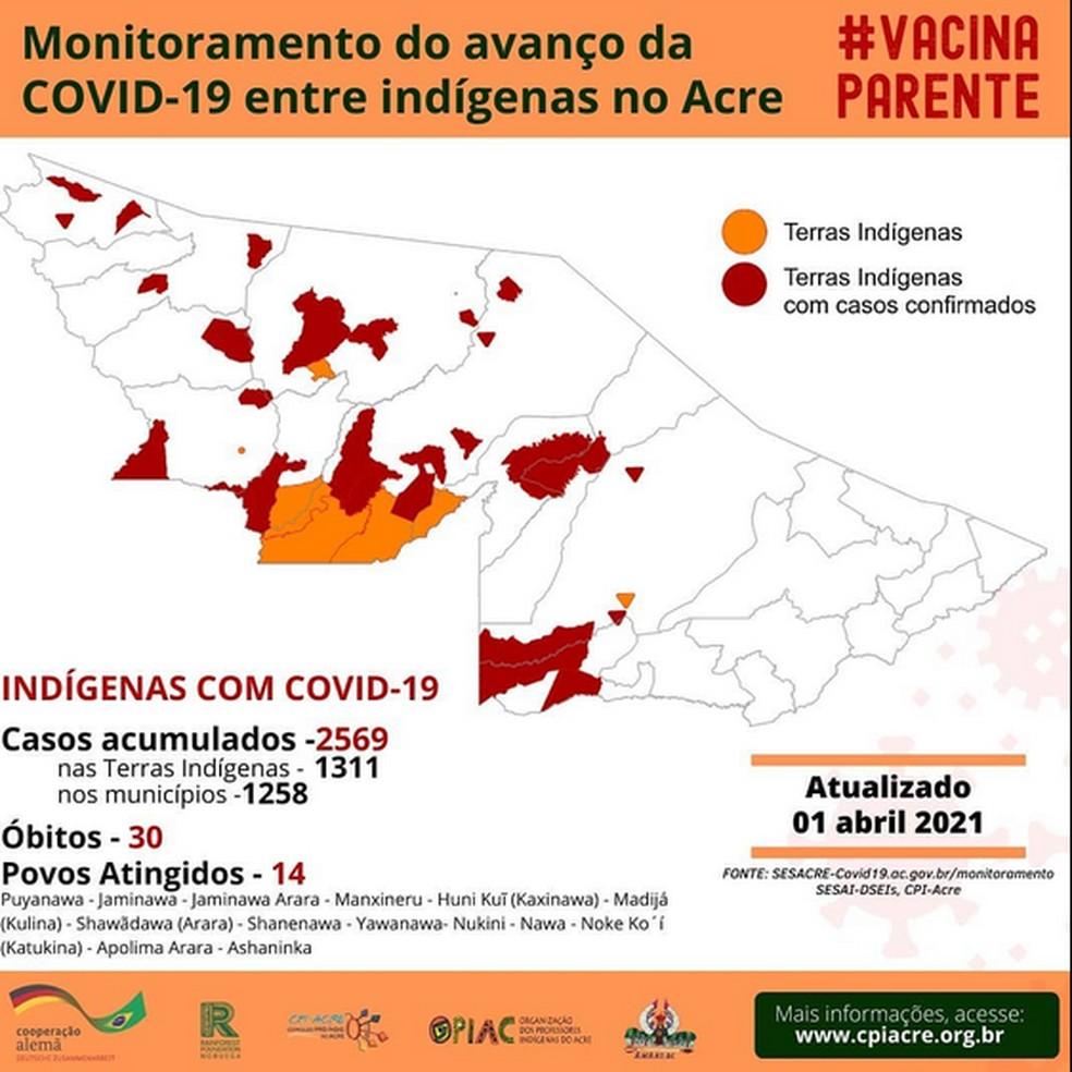 Ao todo, 30 indígenas morreram de Covid-19 no Acre — Foto: Reprodução