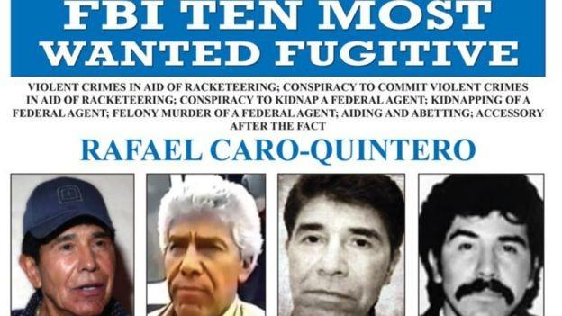 Os Estados Unidos oferecem US$20 milhões pela captura de Rafael Caro Quintero (Foto: FBI)