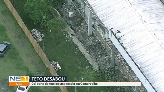 Parte de teto de escola técnica estadual desaba em Camaragibe