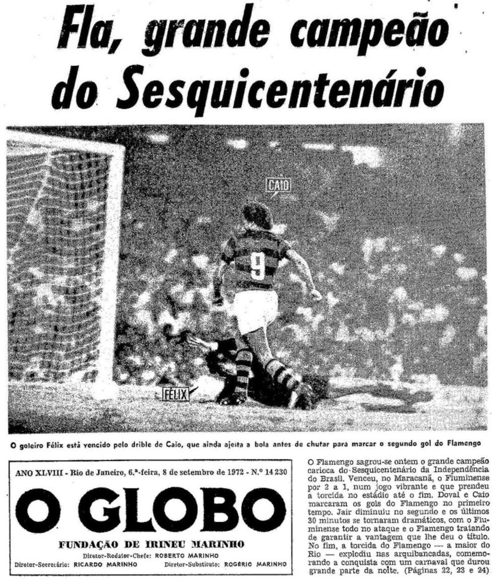 """O título do Flamengo na capa do jornal """"O Globo"""" do dia 08/09/1972 — Foto: Reprodução / O Globo"""