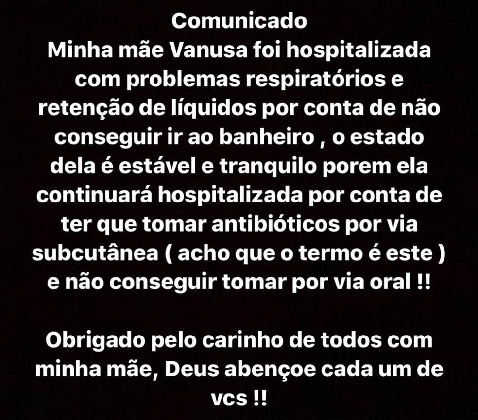 Filho da cantora publicou comunicado sobre estado de saúde da mãe nas redes sociais — Foto: Reprodução/Instagram