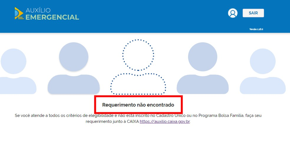 Site mostra que CPF não foi utilizado para solicitar o Auxílio Emergencial — Foto: Reprodução/Rodrigo Fernandes