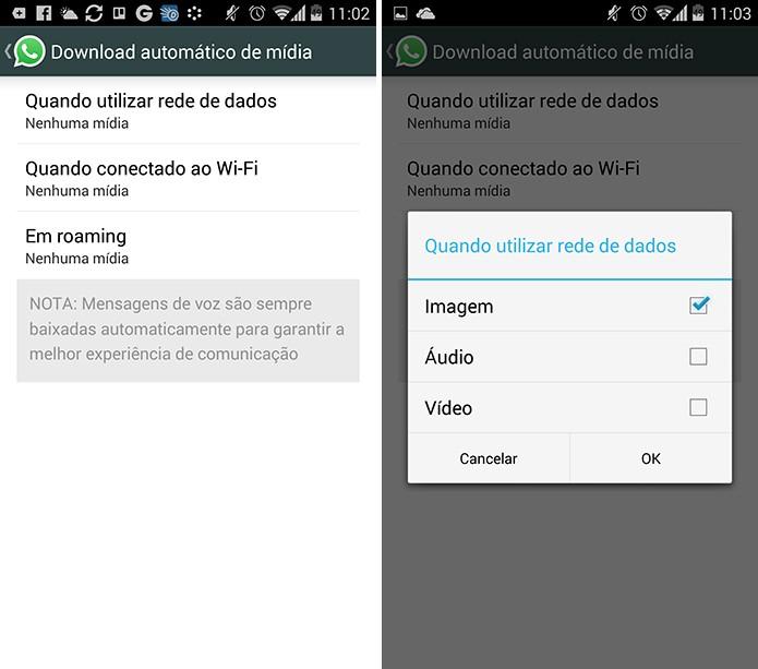 WhatsApps pode não baixar as imagens automaticamente e exibi-las borradas (Foto: Reprodução/Elson de Souza)
