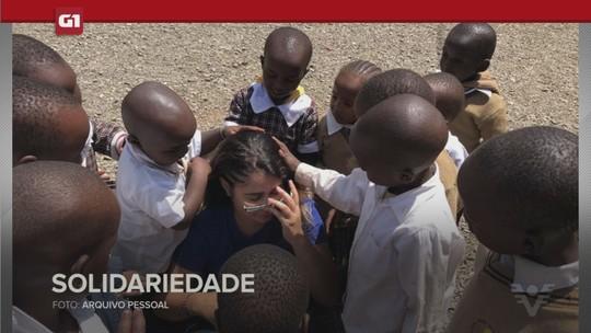 G1 em 1 minuto - Santos: Jovem troca férias em resort para cuidar de crianças com HIV