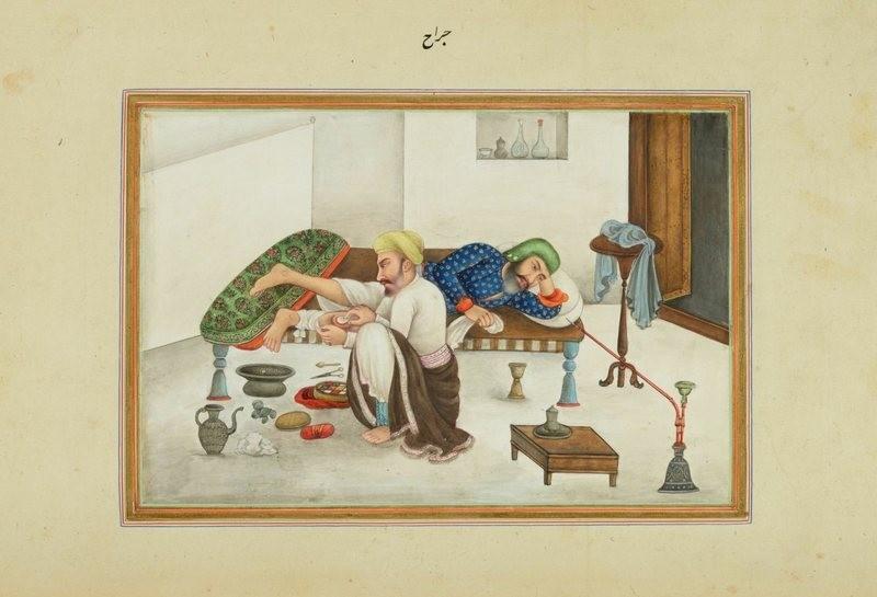 Em uma imagem do livro de James Skinner sobre a vida na Índia, um cirurgião trabalha na perna de um paciente enquanto ele toma ópio (Foto: Biblioteca do Congresso dos Estados Unidos)