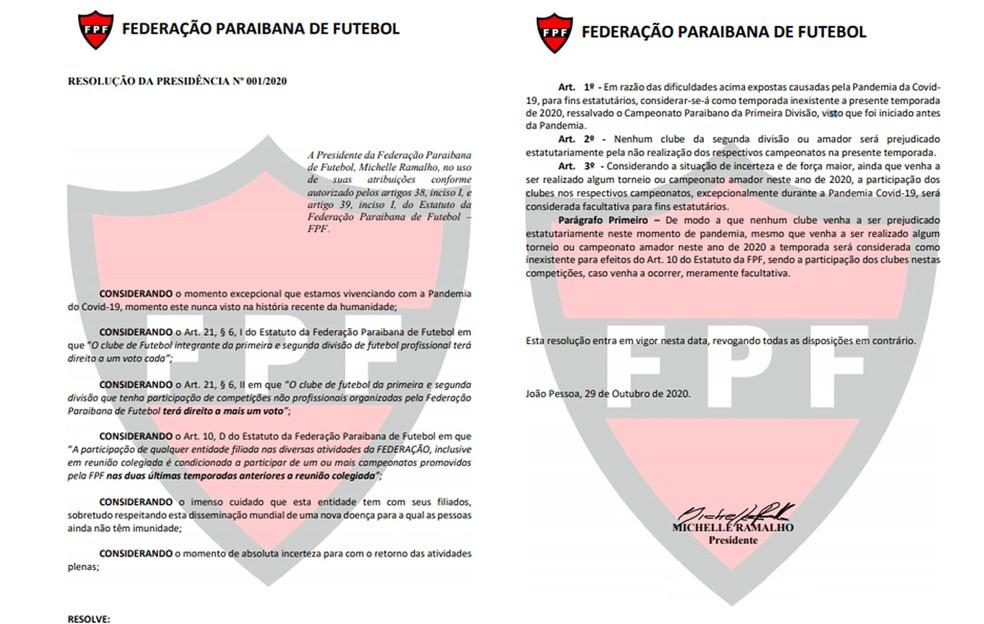 Documento assinado por Michelle Ramalho torna facultativo a disputa das competições que possam acontecer nesta temporada — Foto: Divulgação / FPF