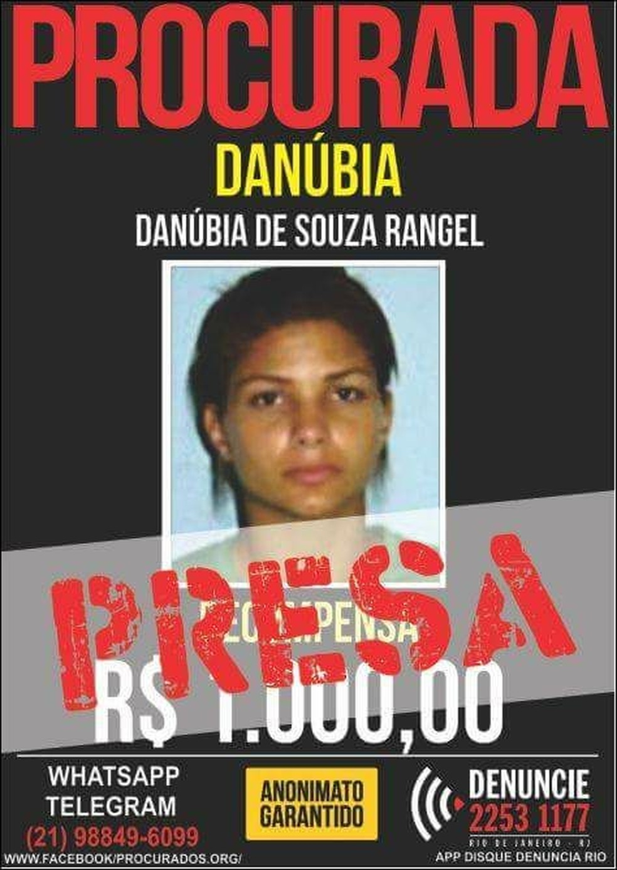 Danúbia Rangel era procurada pela polícia (Foto: Divulgação/Disque Denúncia)