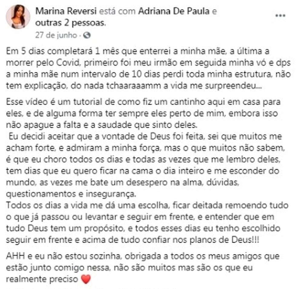 Marina construiu um 'cantinho' para lembrar dos parentes que morreram  — Foto: Reprodução/Facebook