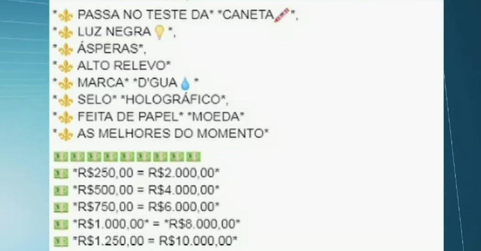 Vendedor estabelece preço de notas falsas em anúncio em rede social (Foto: Facebook/Reprodução)