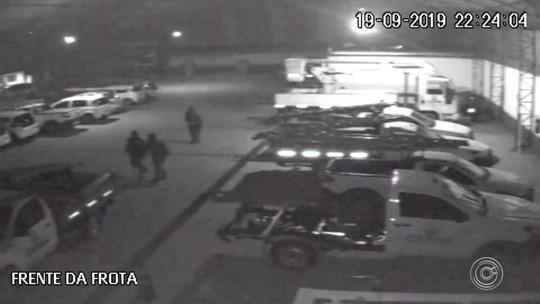 Câmeras de segurança flagram ação de grupo suspeito de furtar empresa em Mairinque