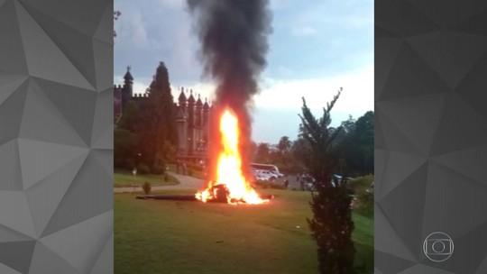 Vídeo indica que noiva e tripulantes tiveram menos de 1 minuto para deixar helicóptero antes de explosão em Vinhedo