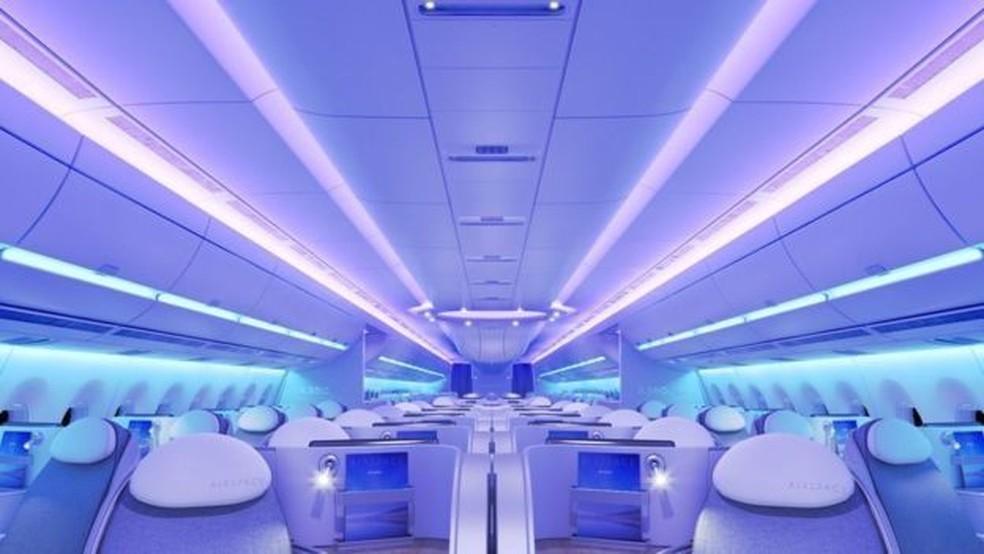Conceito da cabine do Airbus A350 XWB (Foto: Airbus)