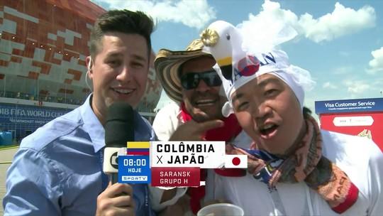 """Profissão repórter: colombiano e japonês beijoqueiro """"acabam"""" com link antes de jogo"""