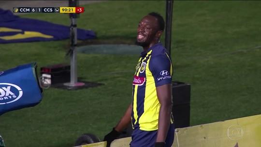 Usain Bolt estreia como jogador de futebol, mas falta velocidade para marcar
