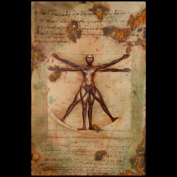 """""""O Homem Vitruviano"""", de Leonardo da Vinci, virou """"A Mulher Virtuosa"""", por Harmonia Rosales  (Foto: Reprodução/Instagram)"""