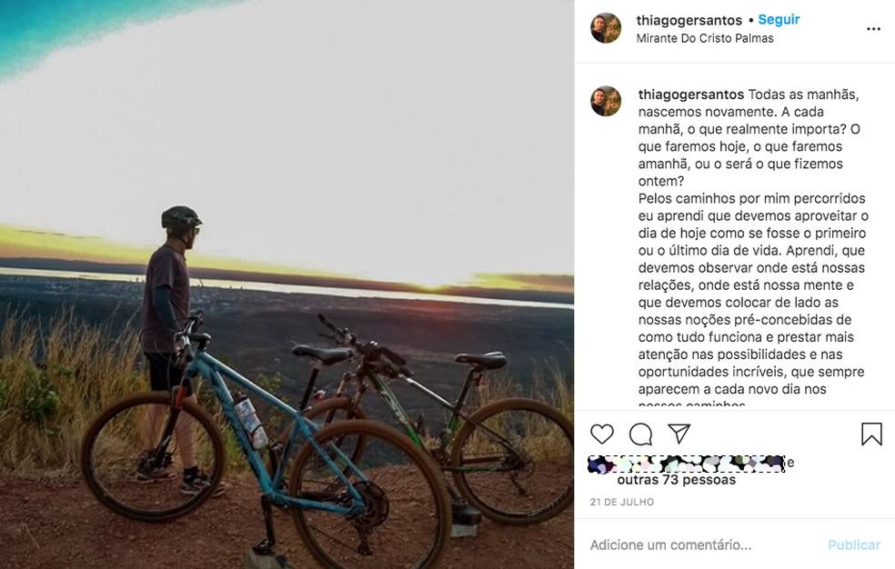 Ciclista publicou mensagem reflexiva dias antes de morrer atropelado na TO-010 — Foto: Reprodução/Instagram