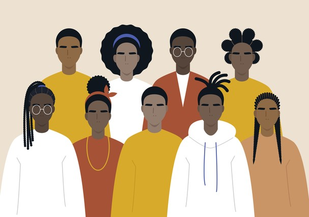 Black community, african people gathered together, a set of male and female characters wearing casual clothes and different hairstyles (Foto: Getty Images/iStockphoto)