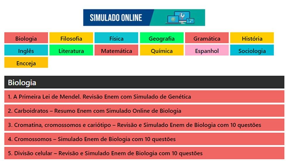 Blog do Enem é uma boa opção para quem deseja organizar os temas de estudo por disciplina — Foto: Reprodução/Paulo Alves