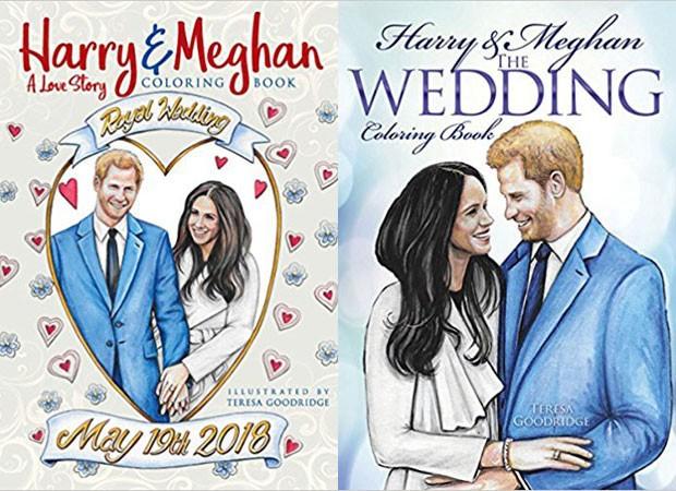Canetinhas em ação: os livros de colorir contando o romance de Meghan Markle e do príncipe Harry (Foto: Reprodução)