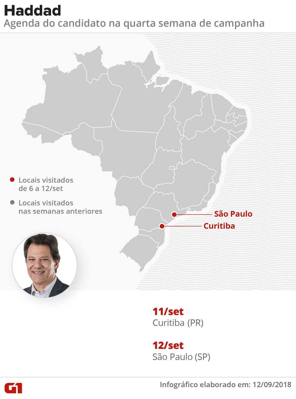 Agenda do candidato Fernando Haddad (PT) na 4ª semana de campanha presidencial — Foto: Roberta Jaworski/G1