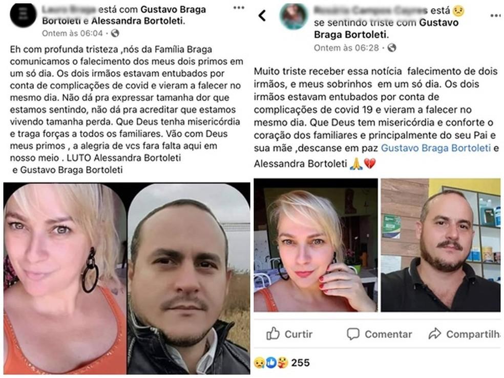 Parentes lamentaram morte de irmãos de Mirandópolis (SP) nas redes sociais  Foto: Reprodução/Facebook