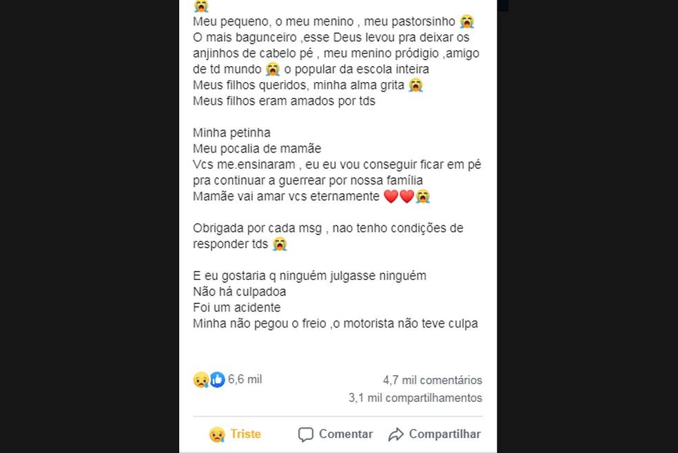 Mãe de crianças atropeladas por caminhão em Cabo Frio posta texto emocionado sobre perda dos filhos — Foto: Reprodução/Facebook